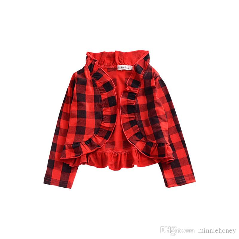 70578301cb9b 2018 Spring Autumn Kids Girls Jackets Coat Fashion Big Plaid Jacket ...