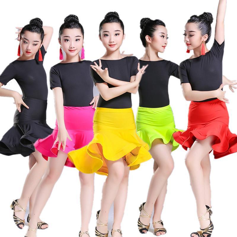 8e4acc928 2019 2018 Girls Short Sleeves Standard Latin Dance Dress Children Ballroom  Spandex Skirt Dresses Kids Salsa Rumba Cha Cha Samba Tango From Fullcolor,  ...