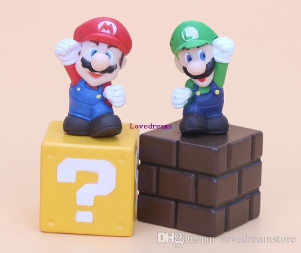 / set 슈퍼 마리오 브라더스 피규어 번들 블록 Mario Goomba Luigi Koopa Troopa 버섯 PVC Toysfor Kids Phone Accessories
