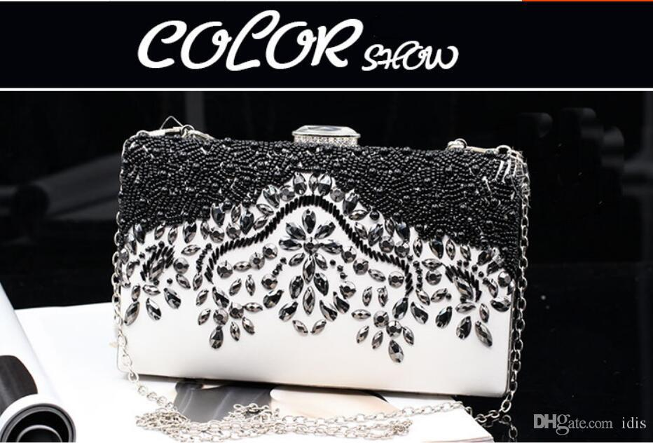New handmade bead embroidered dinner bag water drill chain wedding bag hand with single shoulder slanting small bag