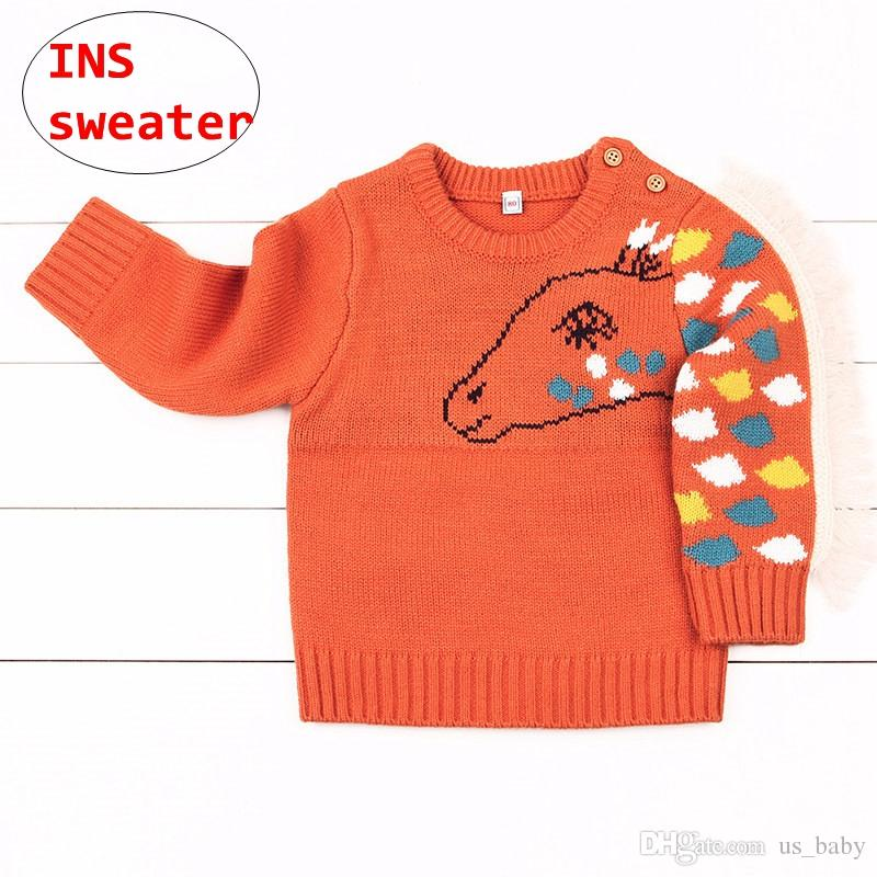 1c9cf669536934 Infant Horse Design Sweaters Baby Boys Girls Knitted Tops Kids Gray Orange  New Year Pullover Shirt Toddler Knit Sweater Patterns Kids Sweater Patterns  Free ...