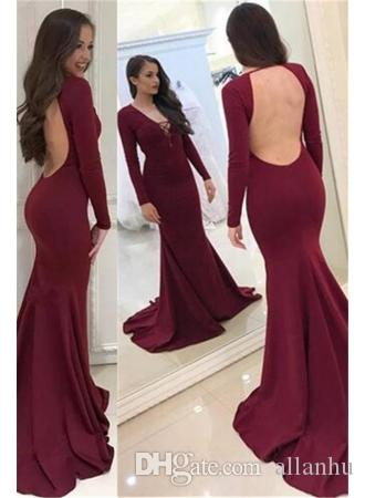 Simple Long Sleeve Prom Dresses