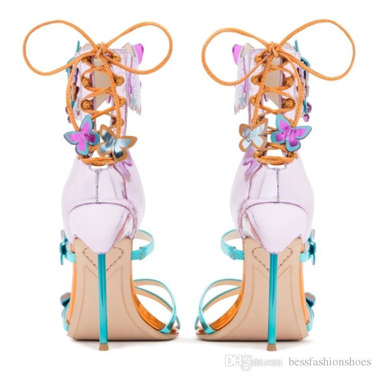 Sophia Webster mulheres sandálias de casamento mujer verão borboleta projeto sexy de salto Alto peep toe sandálias mulheres bombas vestido de festa sapatos size42 41