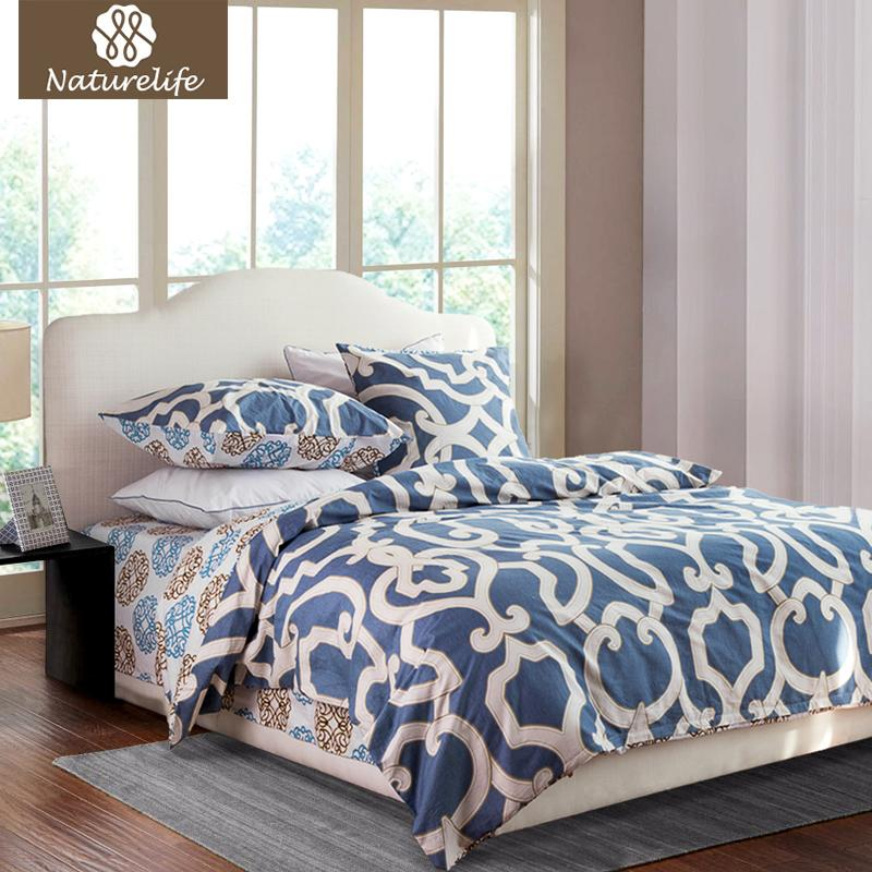 a3609a40b60 Wholesale Naturelife 100% Cotton Duvet Cover Set Flowers Printed Bedding Set  Bedsheet Pillowcase Duvet Cover Bed Quilt Bedlinen Bedclothes Gray And  White ...