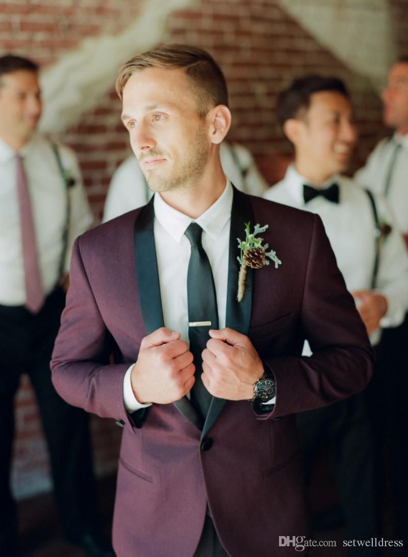 أزياء رخيصة عنابي الرجال بذلات الزفاف مخصص يتأهل رفقاء العريس البدلات الرسمية بدلة رسمية الأعمال سترة + بانت