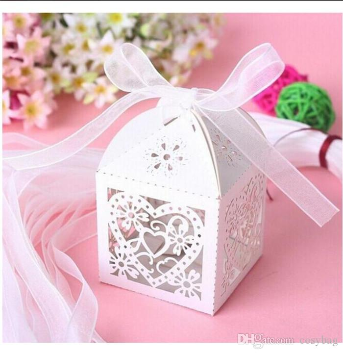 Wedding Candy Box Romantic Heart Card Paper Gift Bag With Ribbon