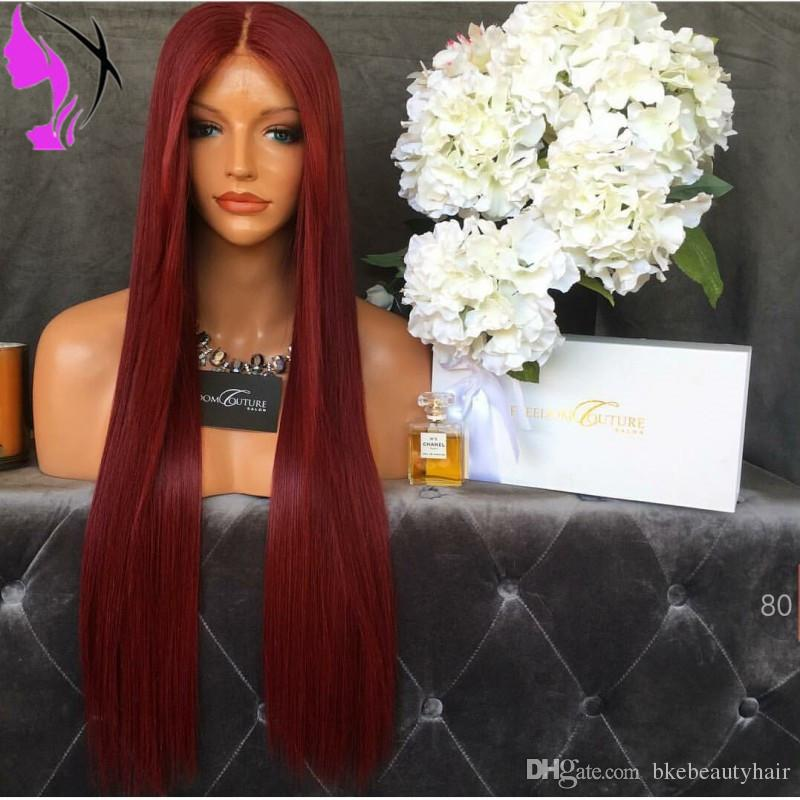 Stock burgundy Synthetic Lace Front Wig Glueless Long Straight Heat Resistant Fiber Natural Fully Hair Wigs For Women