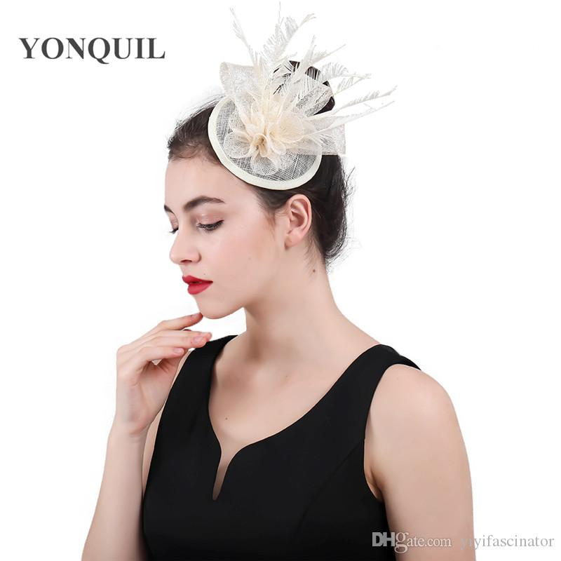 High Quality Ivory Sinamay Hat Top Rose Wedding Fascinator Headband Hats  Hair Clips Feather Headwear Party Tea Hats Chapeau Caps SYF413 Small Hats  Tea Hat ... 326e5751aad
