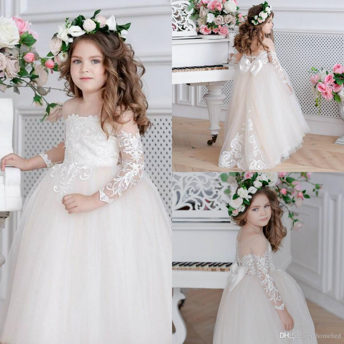 Pretty Lace Ball Gown Flower Girl Dresses For Wedding Long Sleeves