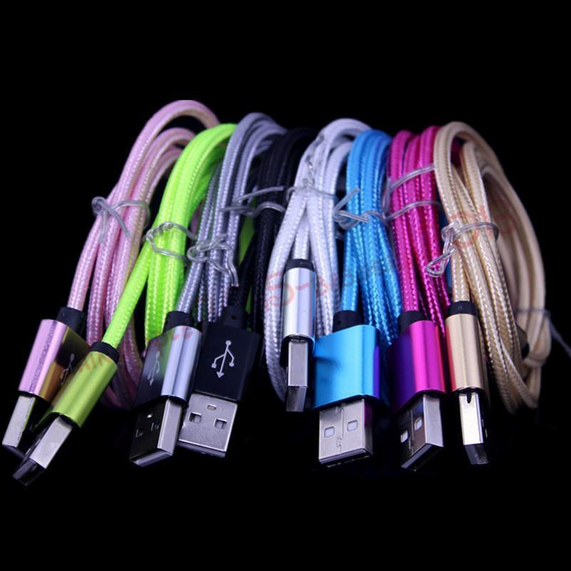 1m 3FT 2m 6FT 3m 10FT Legierungs-Gewebe-umsponnenes Mikro V8 5pin USB-Datenaufladeeinheitskabel für Samsung s4 s6 s7