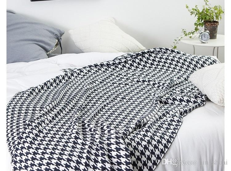 Drop Ship Houndstooth 40% Cotton Black Blue Grey Knit Blanket Adult Magnificent Black And White Houndstooth Throw Blanket