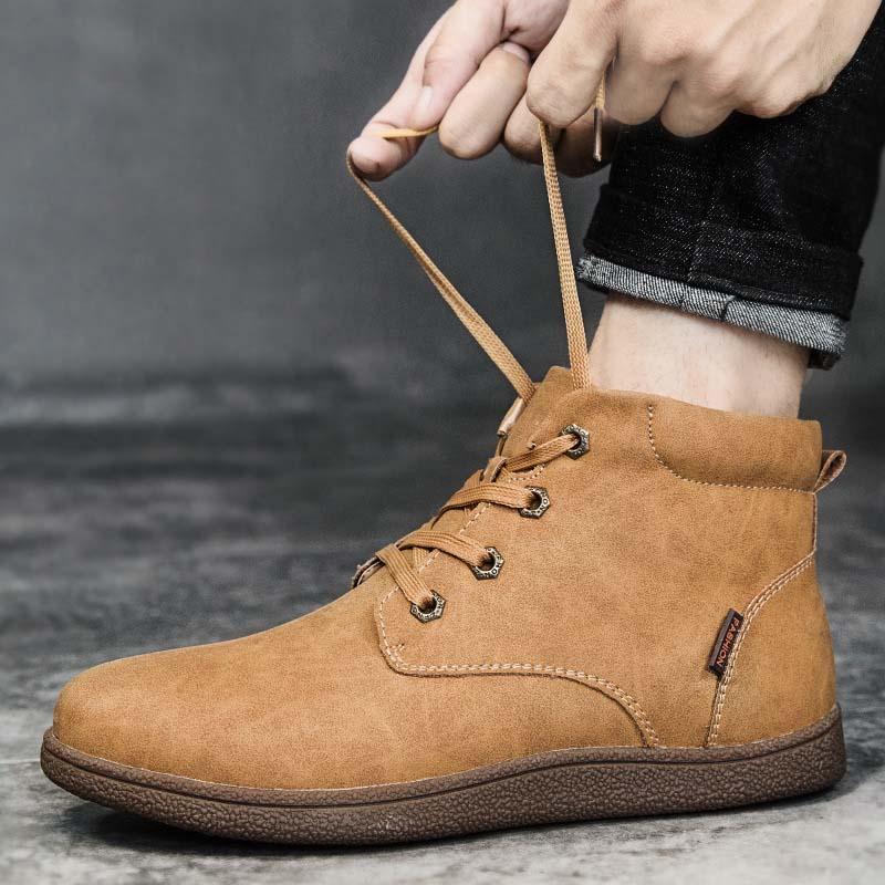 0540c38cc9 Compre Masorini Roman Homens De Couro Ankle Boots Homens Respirável Botas  De Couro De Alta Top Sapatos De Neve Ao Ar Livre Sapatos De Inverno Casuais  WW 055 ...