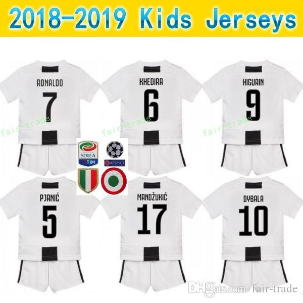 timeless design f7ebe a4b0a 2018 2019 Soccer FC Youth Juventus Jersey Kids Set White RONALDO CHIELLINI  COSTA MANDZUKIC DYBALA MATUIDI Children Football Shirt Kits