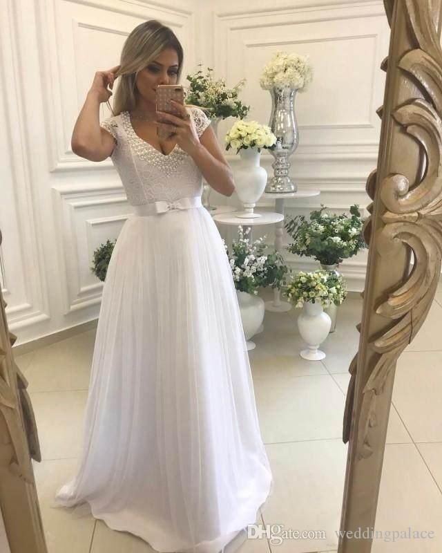 2018 Newest Honorable Graceful White Prom Dresses V-Neck Short Sleeve Lace Pearls Bow Sash Popular Party Evening Dresses Evening Gowns