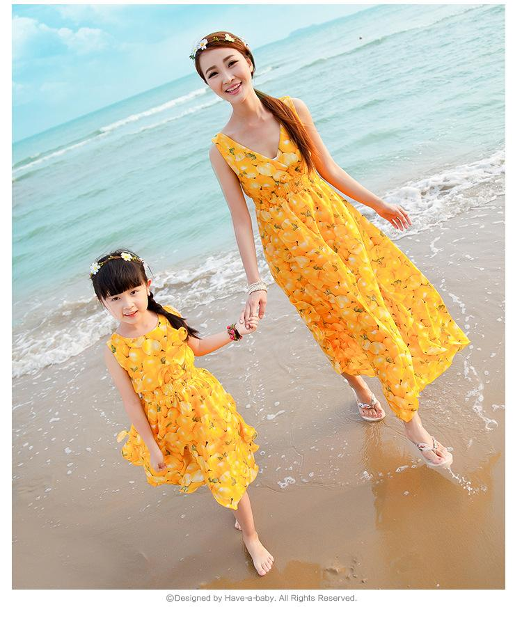 Summer Mother Daughter Dresses Family Matching Outfits Sleeveless Long Dress For Family Mom Daughter Party Holiday Dress
