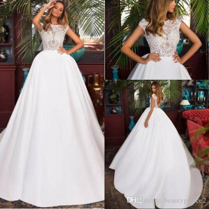 cec78cc748119 Discount Gorgeous Sweep Train White Wedding Dresses For Church 2018 A Line  Cap Sleeves Bateau Neck V Cut Backless Illusion Top Bridal Gowns Wedding  Gowns ...