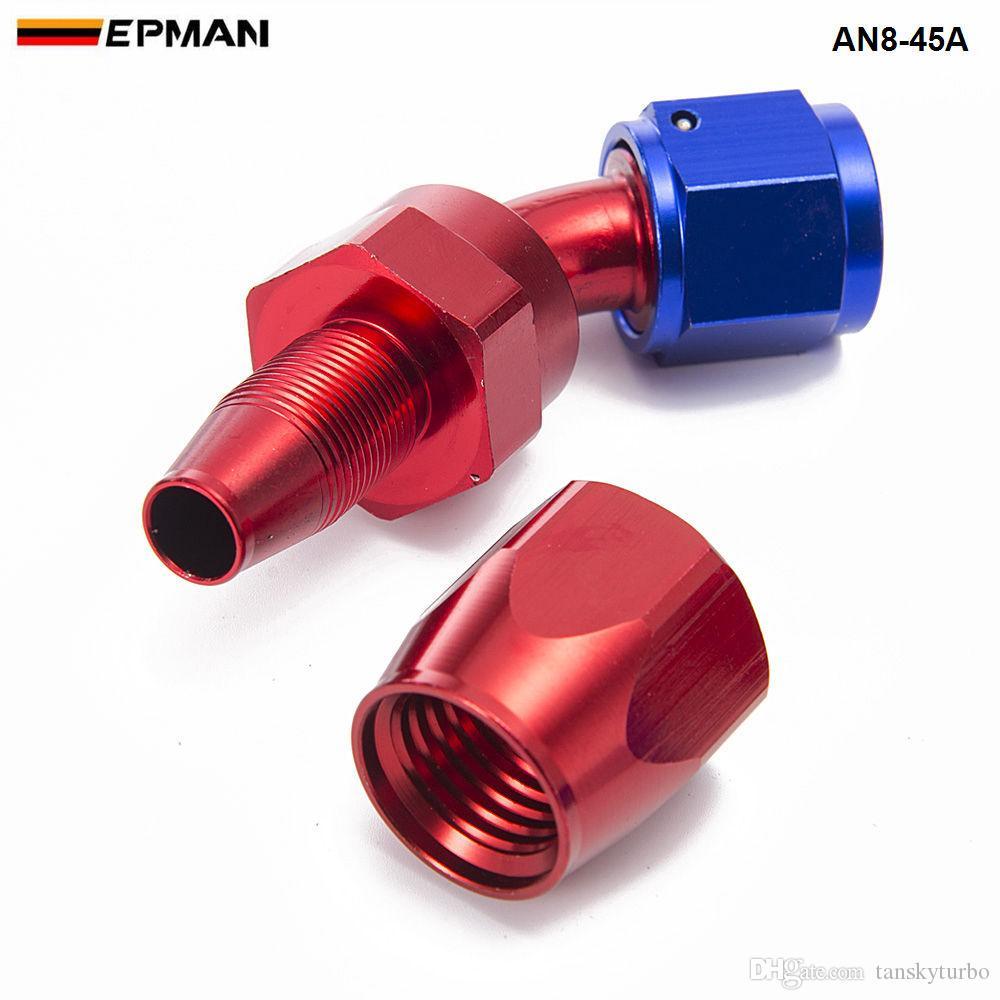EPMAN - AN8 45 Degree Aluminum Swivel Oil/Fuel/Air/Gas Line Hose End Fitting Blue AN8-45A