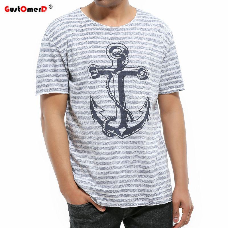 25a70410d514bd GustOmerD Summer 100% Cotton T Shirt Brand Clothing Hip Hop Anchor Printed  Men T Shirt Short Sleeve Striped Casual T Shirts Men Long Sleeve T Shirts  Vintage ...