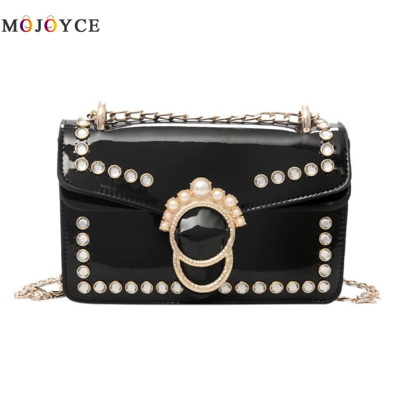 9eca12c0d87c MOJOYCE Rhinestones Shoulder Bag Handbag PU Patent Leather Chain Designer  Casual Sequin Crossbody Bag Clutch Ladies Flap Messeng Western Purses  Leather ...