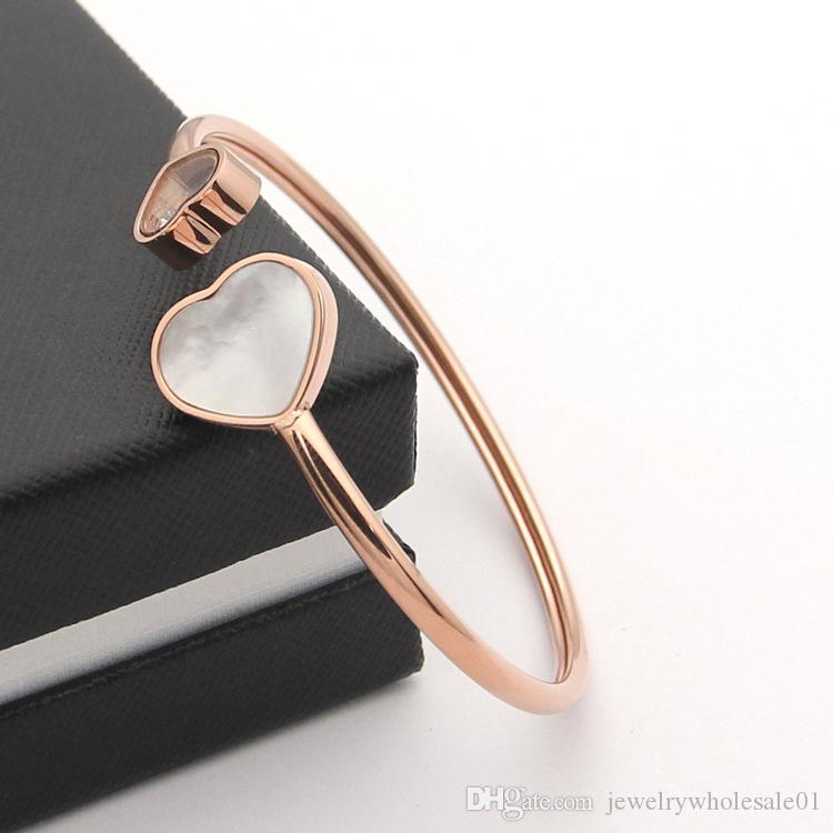 Wholesale joy Bracelet Black and white red heart shaped Bracelet Heart - shaped open rose gold bracelet