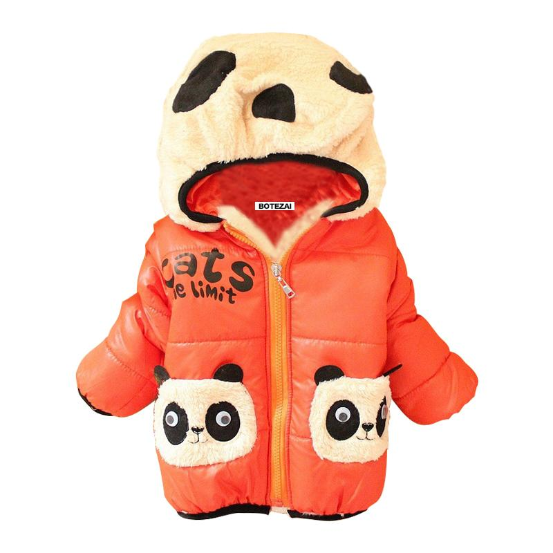 Retail New 2017 children's outerwear girls hoodies jackets with thick cotton-padded clothes boy's winter panda coat