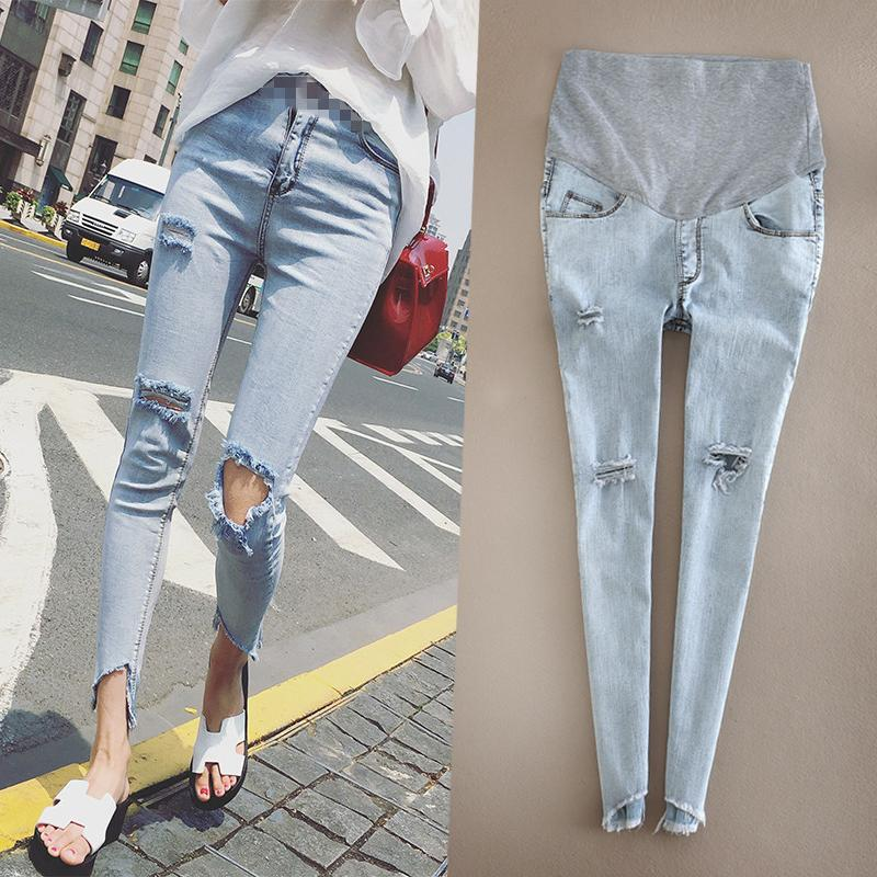 af4d960606cf9 2019 Maternity Jeans Pants Hole Skinny Lady Denim Leggings Pregnant  Trousers Ankle Length Nursing Prop Belly Stretchy Jeans Pregnancy From  Orchidor, ...