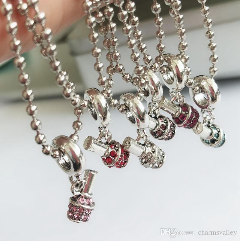Fashion Mixed Color Rhinestone Nail Polish Bottle Charms Pendant DIY Necklace For Women Ladies Party Gifts