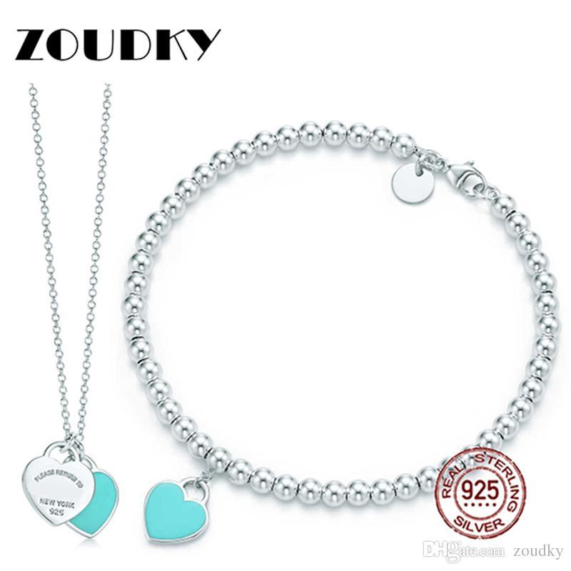 37ff793e2675 Compre ZOUDKY Verde Pulsera En Forma De Corazón Collar 100% 925 Colgante  Azul De Plata De Ley Simple Para Las Mujeres Elegantes Joyas De Regalo A   30.56 Del ...