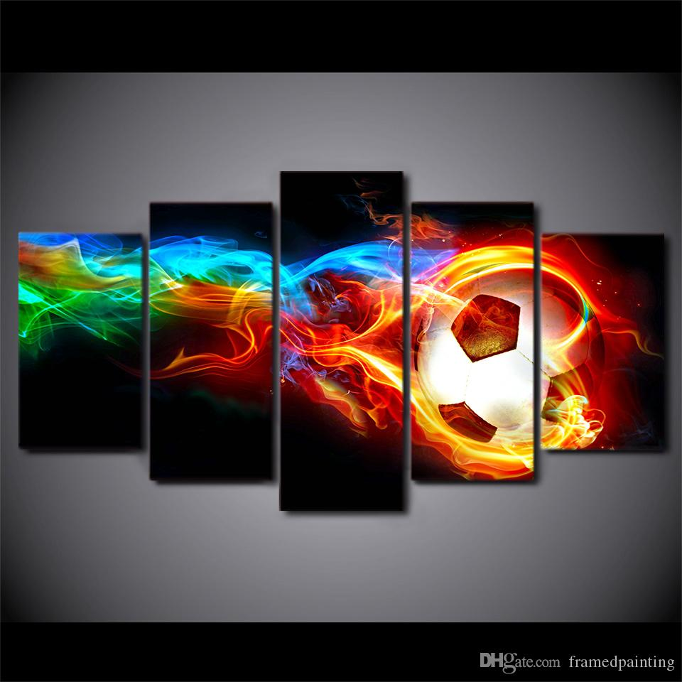HD Printed 5 Piece Canvas Art hot Socer Football with fire painting Wall Pictures for Living Room Modern Free Shipping