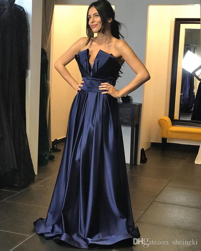 dd00f3c3bf37 2018 New Navy Blue Gorgeous Sweetheart Long Evening Dresses Sleeveless  Formal Floor Length Prom Dresses Party Gowns Custom Made Evening Dresses  For Pregnant ...