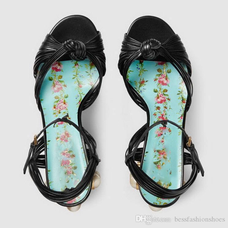 أسود أحمر الصيف الصنادل 2018 النساء سميكة عالية الكعب صندل مع أحذية اللؤلؤ platfrom الصنادل للسيدات حفل زفاف مثير مضخات Size42