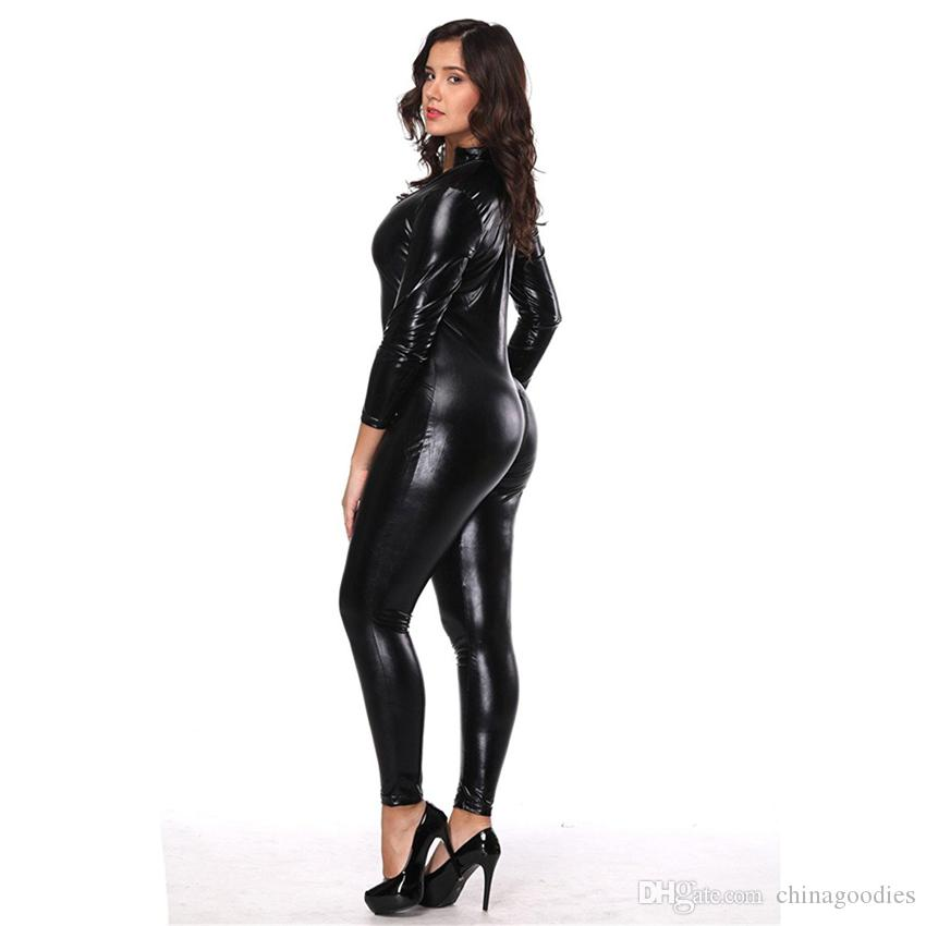 daf15f24d5 2019 Black Wetlook Leather Look Catsuit Sexy Women Adult Jumpsuit ...