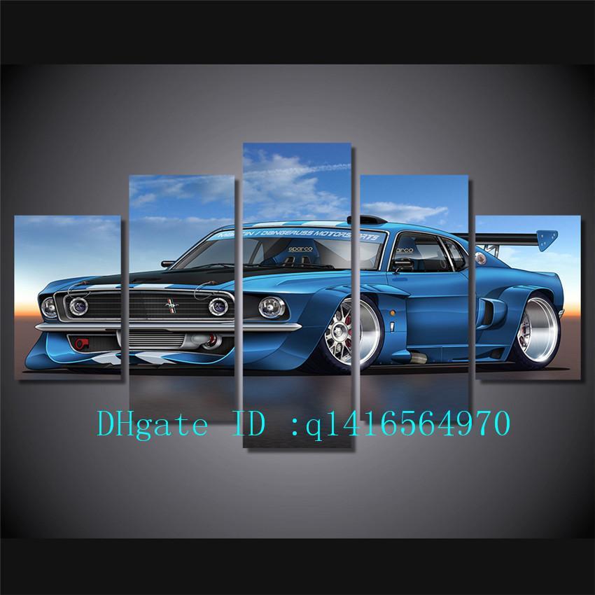 Grosshandel Eleanor Mustang Muskul Auto 5 Stuck Leinwand Wandkunst