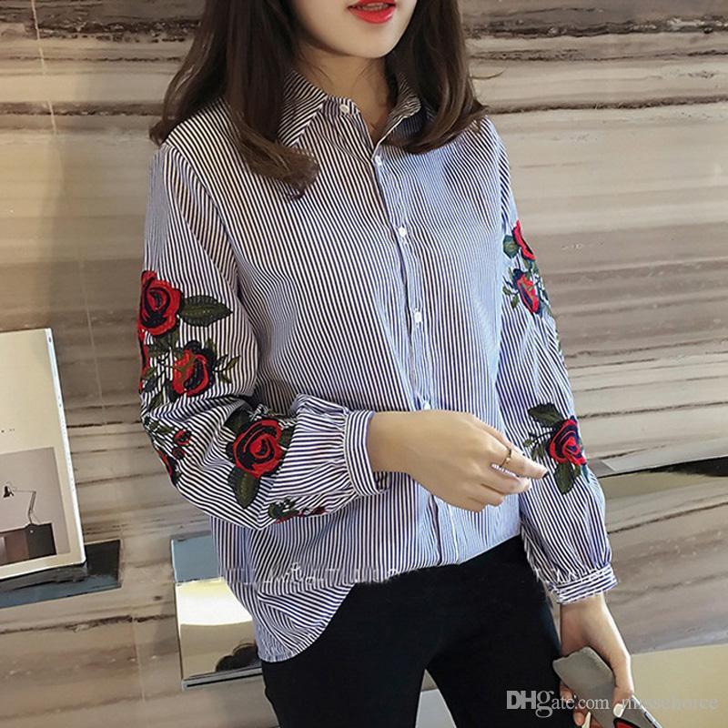 2018 Primavera Nuevas Mujeres Blusas de Las Señoras A Rayas de Rose Blusa Bordado Floral Otoño de Manga Larga Camisa Casual de Moda Camisas oficina Tops