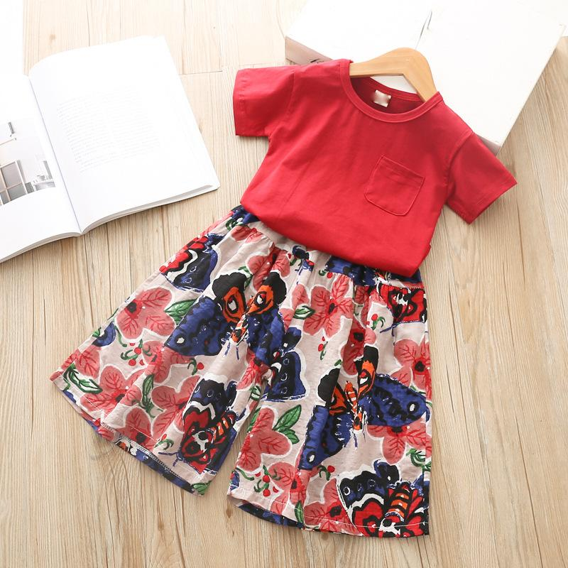 Children's Summer Short Sleeved T + Flower Stamp Wide Leg Bellbottoms Girls Two Piece Suit Baggy Pants