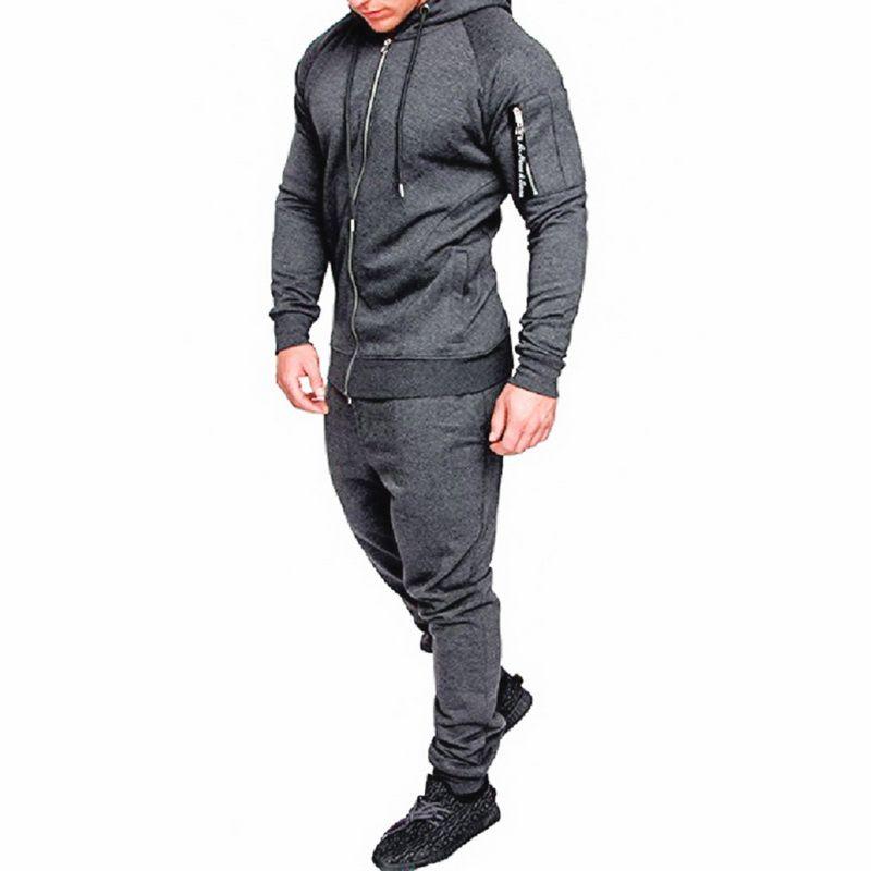 4d83515e65 Puimentiua Autumn Solid Uomo Tute da uomo Zip up Abbigliamento sportivo con  coulisse Tuta con cappuccio Due pezzi