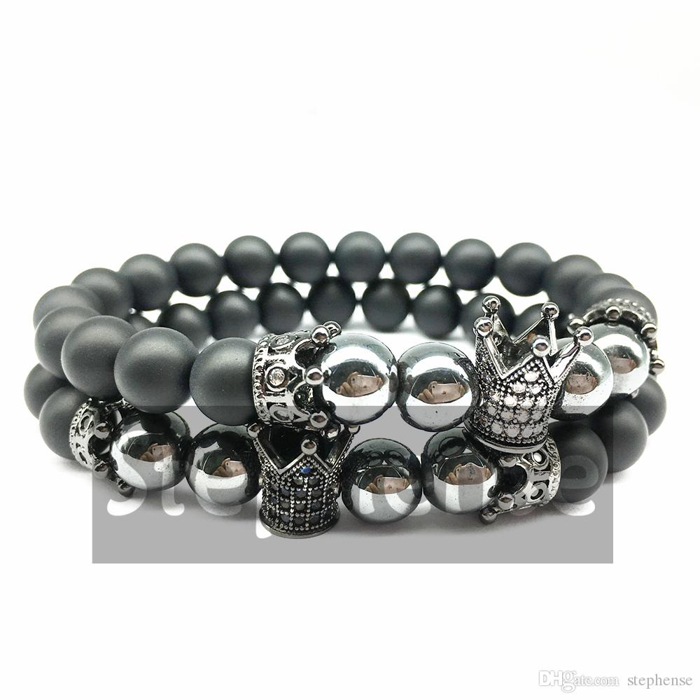 33984b2ee7864 CZ0006 New Design Men`s Crown Charm Bead Bracelet Natural Black Onyx  Hematite Energy Jewelry Best Gift for Him Free Shipping