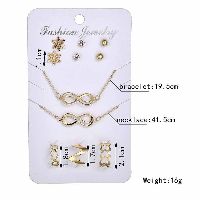 Verrückte Feng 3 Paar Nette Schnee Kristall Ohrringe + 1 Armband + 3 stücke Herz Ring + 1 STÜCK Unendlichkeitssymbol Halskette Schmuck-Set Für Frauen Geschenk
