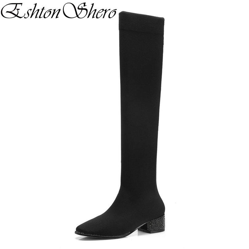 a6428204654 EshtonShero Shoes Woman Over The Knee Boots Stretch Fabric Square Low Heel  Women Platform Ladies Motorcycle Sock Boot Size 34 39 Boots Shoes Ankle  Boots For ...
