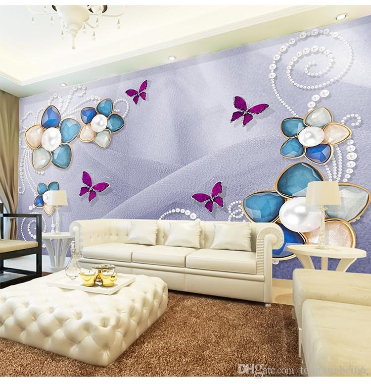 Customized seamless mural luxury European silk diamonds pearl flower wallpaper bedroom living room TV background wallpaper