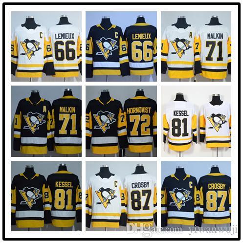 2018 2019 Stitched Adlads Pittsburgh Penguins  66 LEMIEUX  71 MALKIN  87  CROSBY 81 KESSEL White Yellow Black Gold Hockey Jerseys Ice UK 2019 From  Yiwanwuji ef1f920dc75