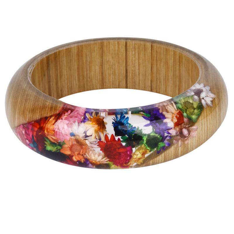2920aba23 NEW Charm Wood Resin Bangle Bracelet With Real Dried Flower Cuff Bracelet  For Women Indian Magic Jewelry Handmade Bangles For Men Thin Gold Bangles  From ...