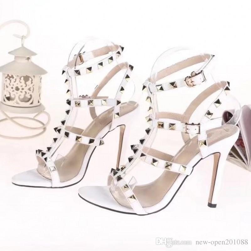Donna Sexy scarpe a punta Tacchi alti Scarpe da donna Scarpe in pelle verniciata Rivetti Stiletti Sandali Scarpe da festa