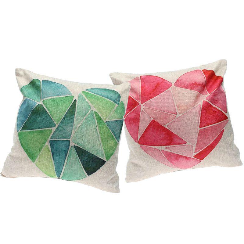 Cushion LOVE Shape Hot Throw Pillow case Linen Sofa Chair Cushion Bedroom Red Green Love Car Home Decorative Pillows Almofada