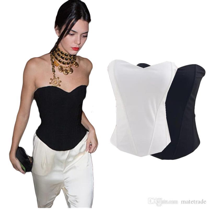 b75ef0eb6f04 2019 SINGYOU Club Style Fashion Women Tube Top Sexy Slim Strapless Basic  Black White Bandeau Tops Female Streetwear From Matetrade