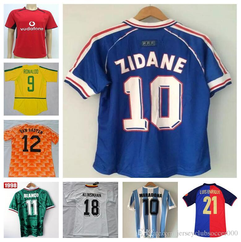 69dd57ea4 2019 France 1998 World Cup Retro Football Shirts Mexico 1998 Shirts  Netherland Germanys 1990 Argentina Brazil Retro Jersey Beckham Zidane HENRY  From ...