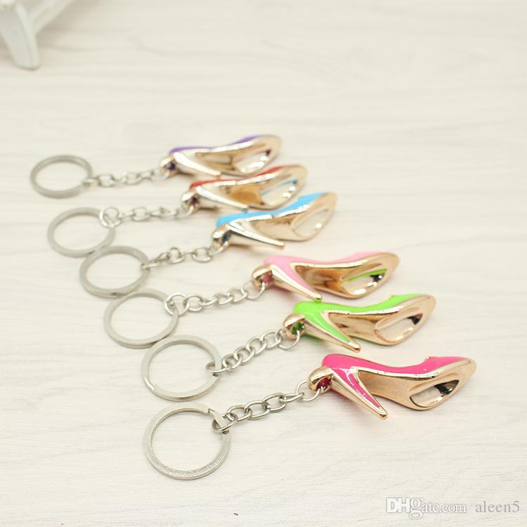 2018 Shoes Keychain Purse Pendant Bags Cars Shoe Ring Holder Chains Key Rings For Women Gifts Women acrylic High Heeled