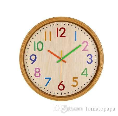 12 Inch Silent Colorful Number Kids Wall Clock Large Decorative Non Ticking  Wall Clock Vintage Style Battery Operated Unique Bathroom Clocks Unique  Clock ...