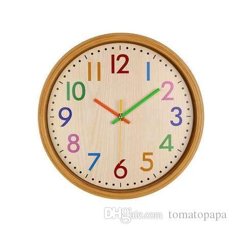 22deb380e9d8 Compre Reloj De Pared Infantil De 12 Pulgadas Silencioso Colorido Número  Reloj De Pared Decorativo Grande De Non Ticking Estilo Vintage Con Pilas A   53.52 ...