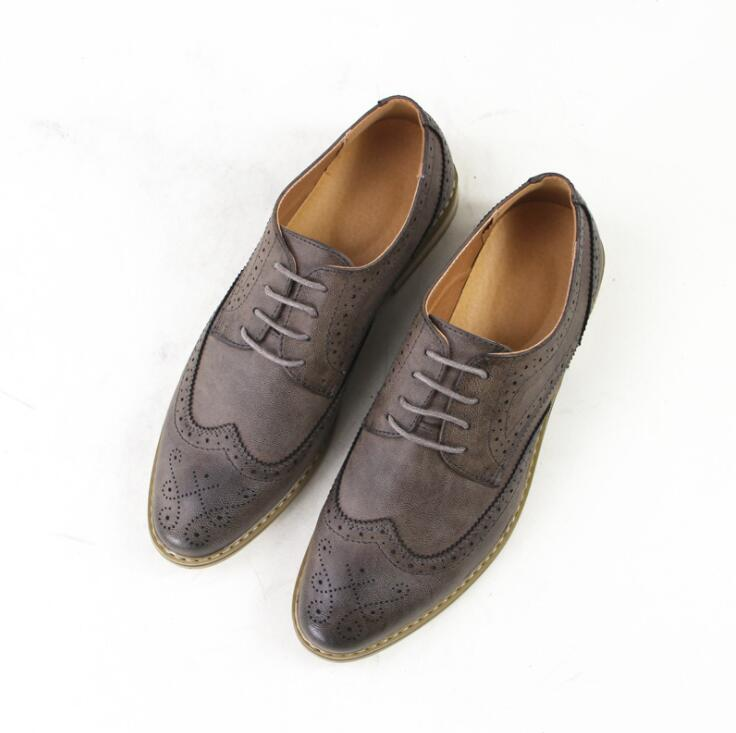 2018 Luxury Leather Brogue Mens Flats Shoes Casual British Style Men ... 2e42ab1b5ad8